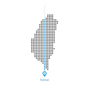Vecteur de conception de carte pointillée taiwan