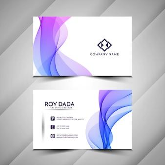 Vecteur de conception de carte de visite abstraite élégante vague colorée