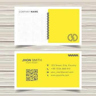 Vecteur de conception de carte de visite memphis jaune