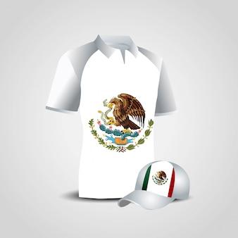 Vecteur de conception de chemise drapeau mexique