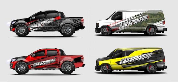 Vecteur de conception de décalque de voiture wrap. conceptions de kit de fond graphique abstrait pour véhicule, voiture de course, rallye, livrée, voiture de sport