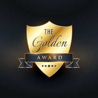 Le vecteur de conception doré du badge de récompense