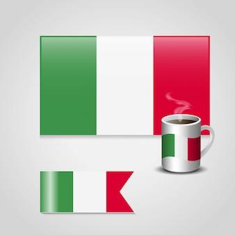 Vecteur de conception de drapeau italie
