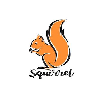Vecteur de conception d'écureuil sur fond blanc illustration vectorielle en couches modifiable facile
