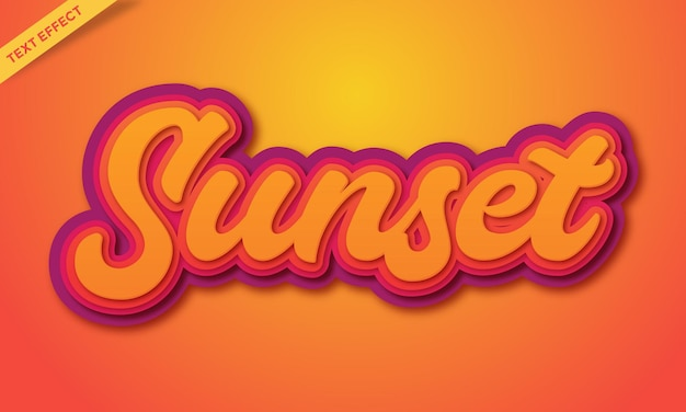 Vecteur de conception d'effet de texte au coucher du soleil