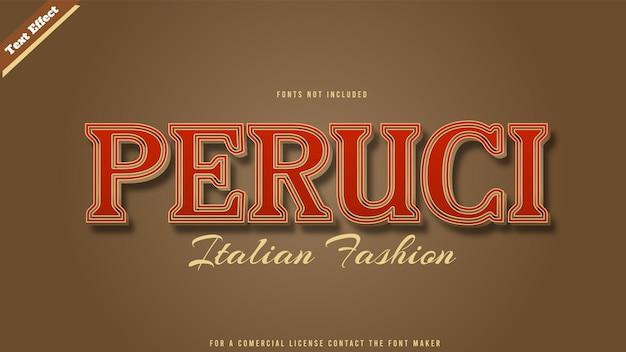 Vecteur de conception d'effet de texte de mode italienne. texte 3d modifiable