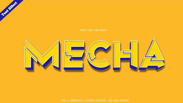 Vecteur de conception d'effet de texte de mode mecha. texte 3d modifiable