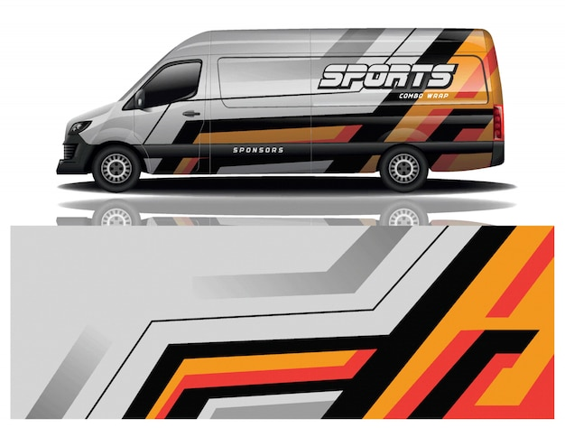 Vecteur de conception d'enveloppe de décalcomanie de voiture van