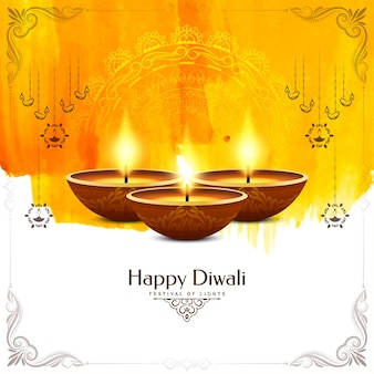 Vecteur de conception de fond élégant aquarelle jaune joyeux festival diwali