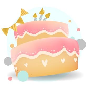 Vecteur de conception de gâteau joyeux anniversaire