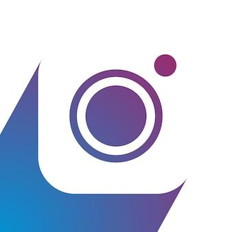 Vecteur de conception d'icône de caméra sur blanc