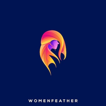 Vecteur de conception d'illustration abstraite femmes plume