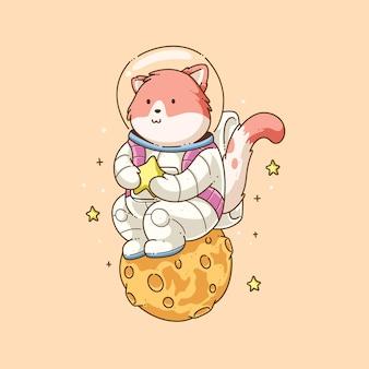 Vecteur de conception illustration chat mignon astronaute dessiné à la main