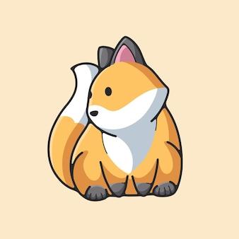 Vecteur de conception d'illustration de renard mignon dessiné à la main