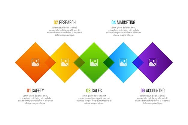 Le vecteur de conception d'infographie de la chronologie peut être utilisé pour la mise en page du flux de travail, le diagramme, le rapport annuel, la conception de sites web. concept d'entreprise avec 5 options, étapes ou processus.