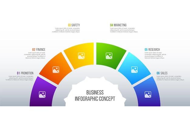Le vecteur de conception d'infographie de la chronologie peut être utilisé pour la mise en page du flux de travail, le diagramme, le rapport annuel, la conception de sites web. concept d'entreprise avec 6 options, étapes ou processus.