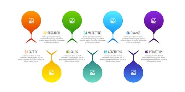 Le vecteur de conception d'infographie de la chronologie peut être utilisé pour la mise en page du flux de travail, le diagramme, le rapport annuel, la conception de sites web. concept d'entreprise avec 7 options, étapes ou processus.