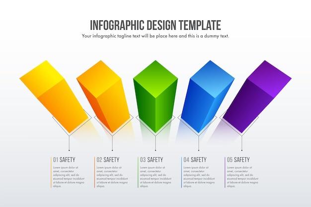 Le vecteur de conception d'infographie chronologique réaliste 3d peut être utilisé pour la mise en page du flux de travail, le diagramme, le rapport annuel, la conception web. concept d'entreprise avec 6 options, étapes ou processus.