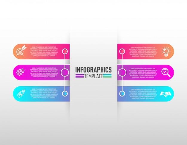 Vecteur de conception infographie et marketing icônes avec 6 étapes vectorielles.