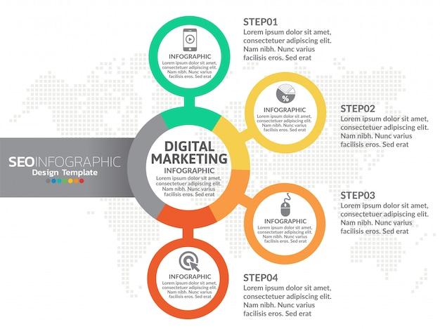 Vecteur de conception infographique 4 pièces et icônes marketing