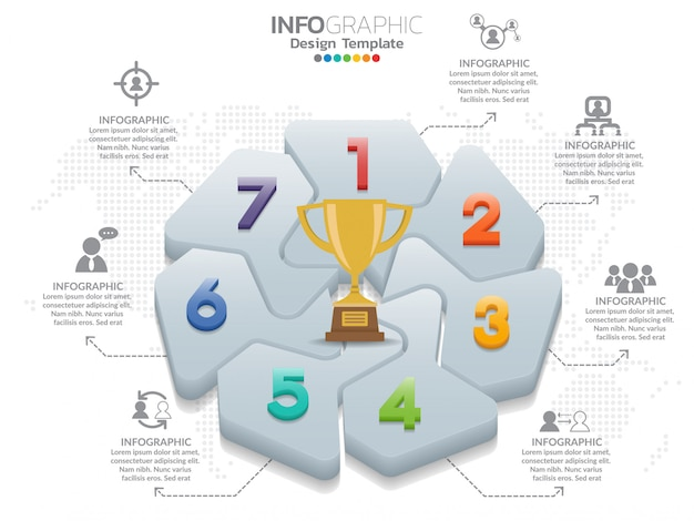 Vecteur de conception infographique de 7 pièces et nombre d'icônes marketing