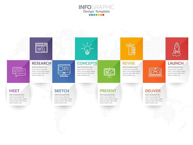 Vecteur de conception infographique timeline et icônes marketing