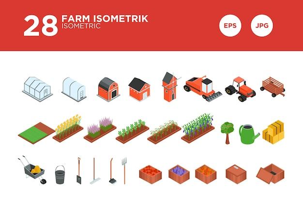 Vecteur de conception isométrique de la ferme