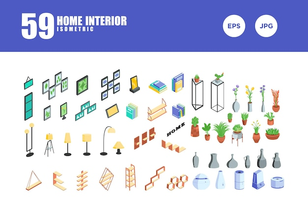 Vecteur de conception isométrique d'intérieur à la maison