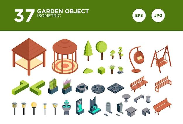 Vecteur de conception isométrique de jardin