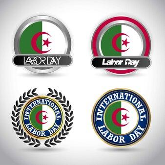 Vecteur de conception de jour du travail de drapeau algérie