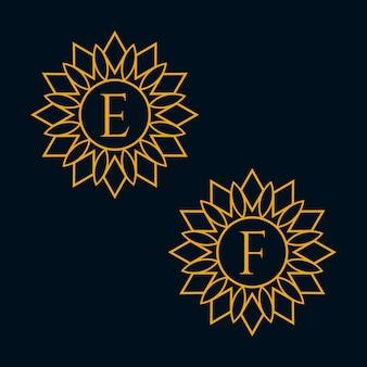 Vecteur de conception de lettres e et f