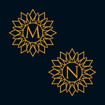 Vecteur de conception de lettres m et n