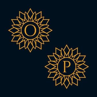 Vecteur de conception de lettres o et p