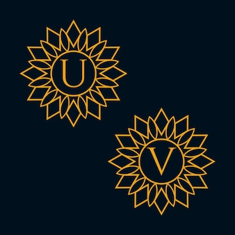 Vecteur de conception de lettres u et v