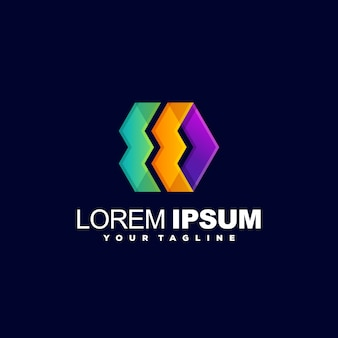 Vecteur de conception de logo abstrait complet couleur