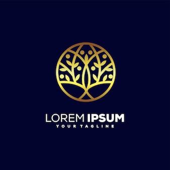 Vecteur de conception de logo arbre doré impressionnant
