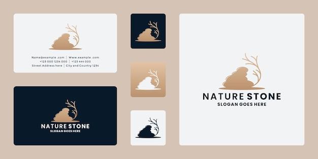 Vecteur de conception de logo d'arbre de fourmi de lotus de pierres pour le spa