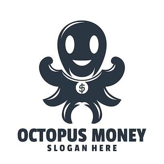 Vecteur de conception de logo d'argent de poulpe