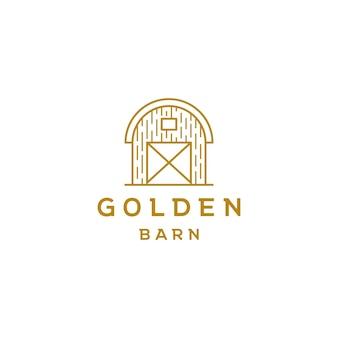 Vecteur de conception de logo art ligne grange dorée
