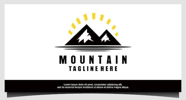 Vecteur de conception de logo d'aventure en montagne