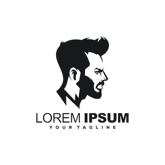 Vecteur de conception de logo de barbe homme cool
