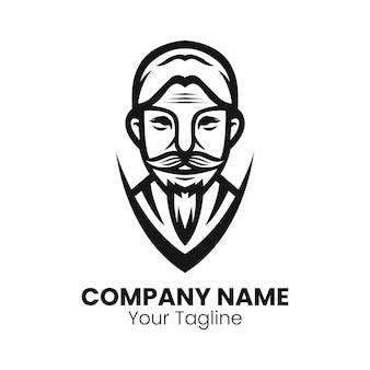 Vecteur de conception de logo de barbe vieil homme