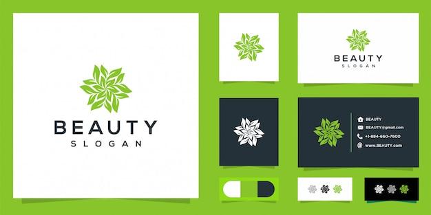 Vecteur de conception de logo beauté femme minimlais et cartes de visite