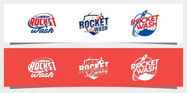 Vecteur de conception de logo de blanchisserie de fusée vecteur premium