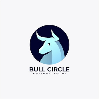Vecteur de conception de logo de cercle de taureau