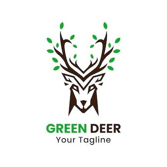 Vecteur de conception de logo de cerf vert
