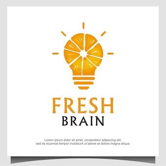 Vecteur de conception de logo de cerveau frais