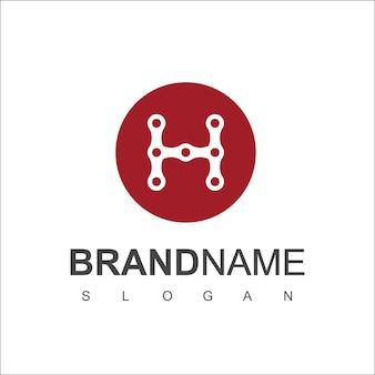 Vecteur de conception de logo de chaîne de lettre h