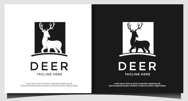 Vecteur de conception de logo de chasseur de cerfs communs