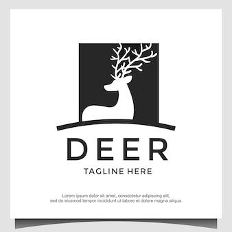 Vecteur de conception de logo de chasseur de cerfs
